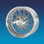 "Jaguar Competition Chrome CURLY HUB 6"" x 15""   72 spokes wire wheel"